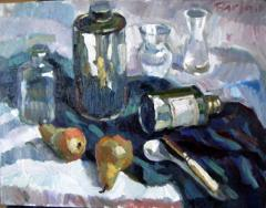 Still Life, turps cans & pears - click here to see an enlargement
