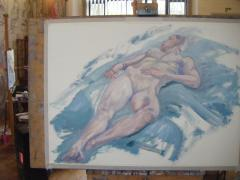 Fluent, Reclining Nude, in the studio - click here to see an enlargement