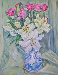 Lilies and Hound Jar - click here to see an enlargement